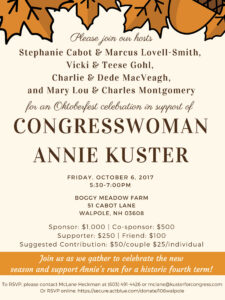 Join Annie Kuster in Walpole @ Boggy Meadow Farm